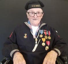 [blog-image]-maine-veterans-homes-bangor-veteran-of-month-navy-conrad-lebourdais-navy-hat.jpeg