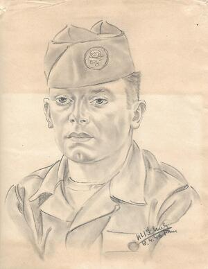 [blog-image]-maine-veterans-homes-scarborough-veteran-of-month-army-william-doughty-drawing