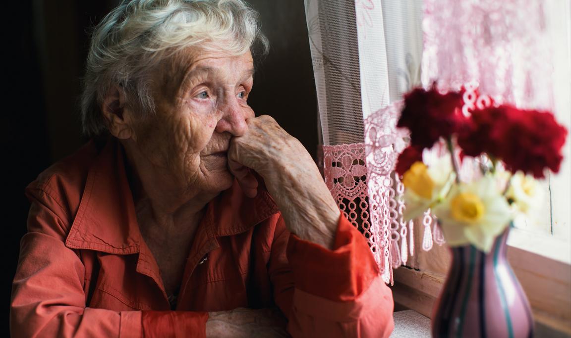Elderly person experiencing SAD